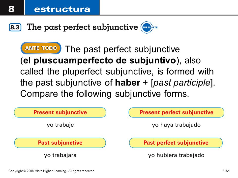 The past perfect subjunctive (el pluscuamperfecto de subjuntivo), also called the pluperfect subjunctive, is formed with the past subjunctive of haber + [past participle]. Compare the following subjunctive forms.